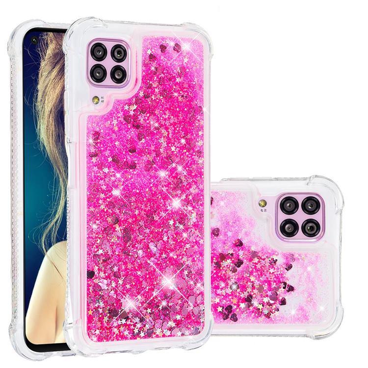 Dynamic Liquid Glitter Sand Quicksand TPU Case for Huawei P40 Lite - Pink Love Heart