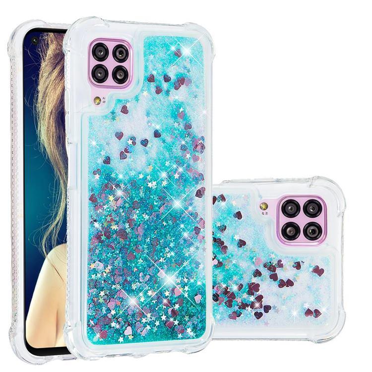 Dynamic Liquid Glitter Sand Quicksand TPU Case for Huawei P40 Lite - Green Love Heart