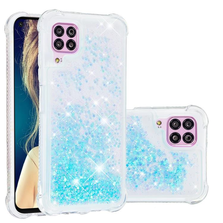 Dynamic Liquid Glitter Sand Quicksand TPU Case for Huawei P40 Lite - Silver Blue Star