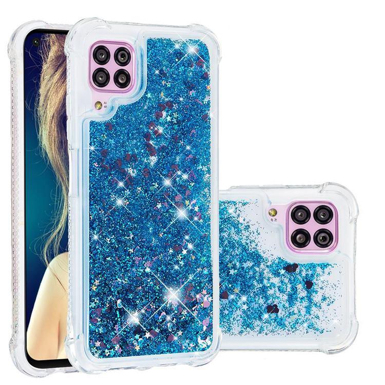Dynamic Liquid Glitter Sand Quicksand TPU Case for Huawei P40 Lite - Blue Love Heart
