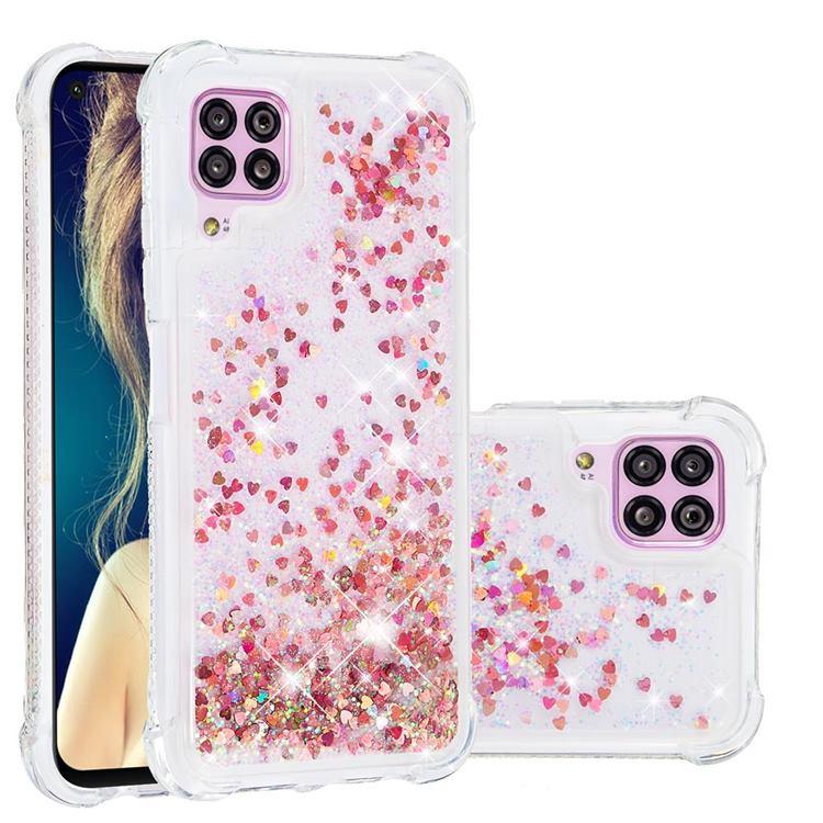 Dynamic Liquid Glitter Sand Quicksand TPU Case for Huawei P40 Lite - Rose Gold Love Heart