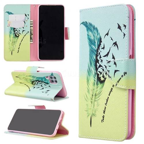 Feather Bird Leather Wallet Case for Huawei P40 Lite
