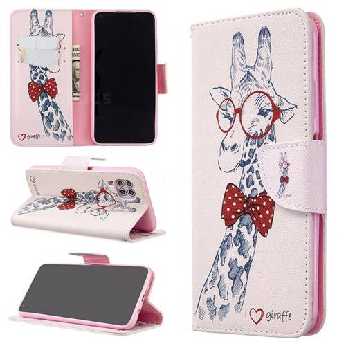 Glasses Giraffe Leather Wallet Case for Huawei P40 Lite