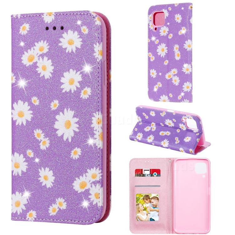 Ultra Slim Daisy Sparkle Glitter Powder Magnetic Leather Wallet Case for Huawei P40 Lite - Purple
