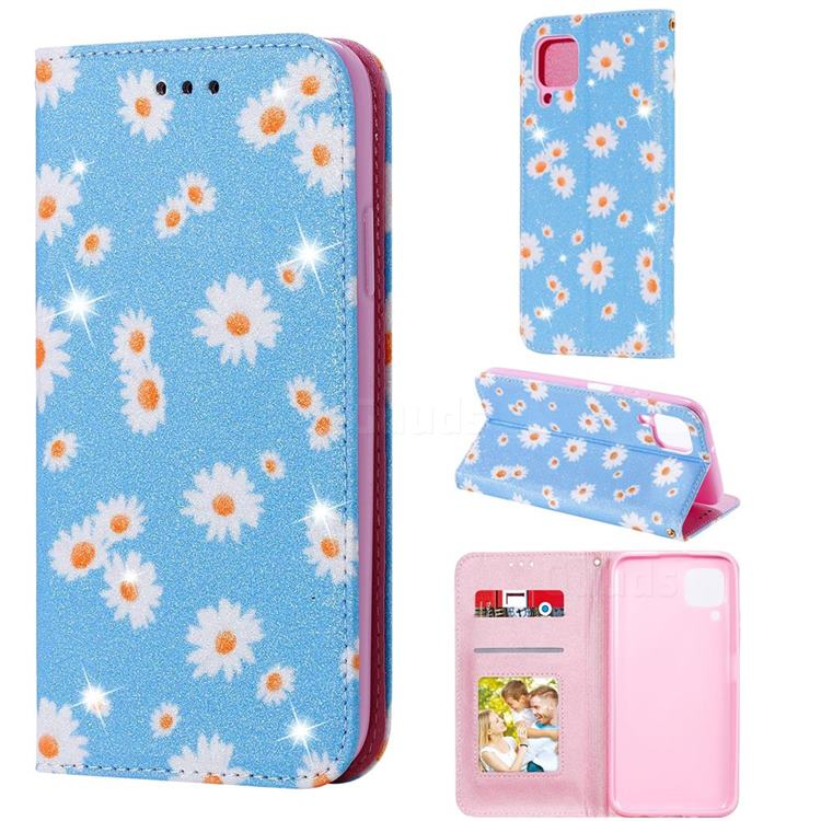 Ultra Slim Daisy Sparkle Glitter Powder Magnetic Leather Wallet Case for Huawei P40 Lite - Blue