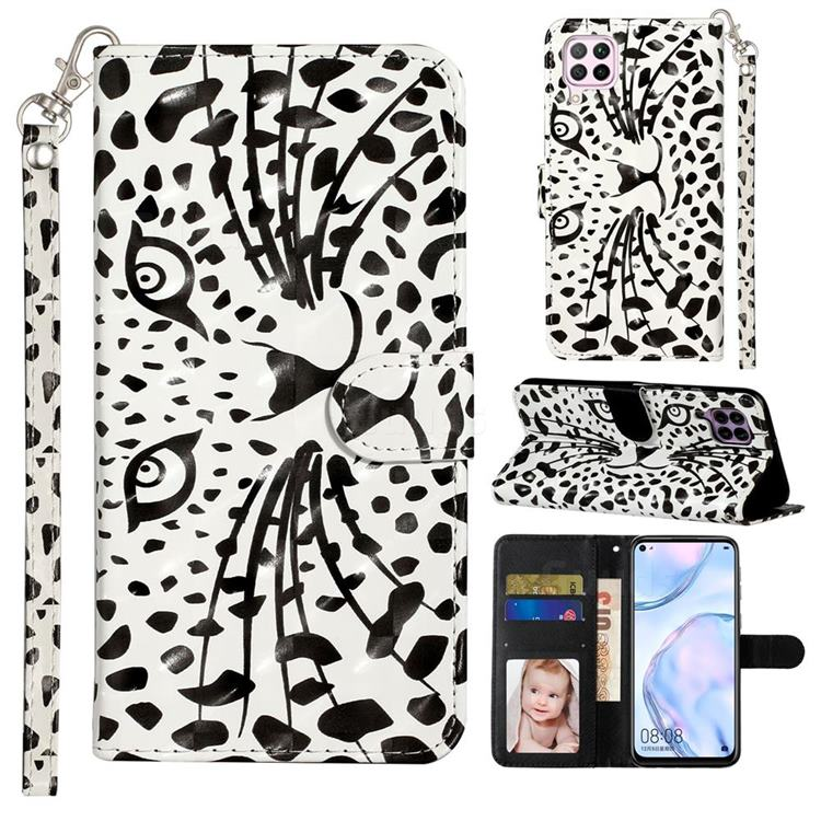 Leopard Panther 3D Leather Phone Holster Wallet Case for Huawei P40 Lite