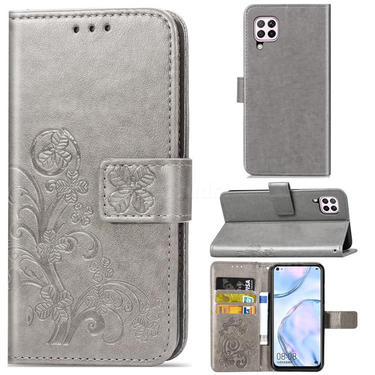 Embossing Imprint Four-Leaf Clover Leather Wallet Case for Huawei P40 Lite - Grey