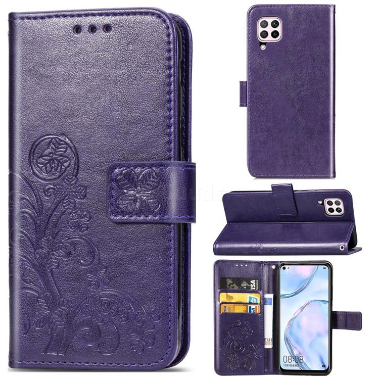 Embossing Imprint Four-Leaf Clover Leather Wallet Case for Huawei P40 Lite - Purple