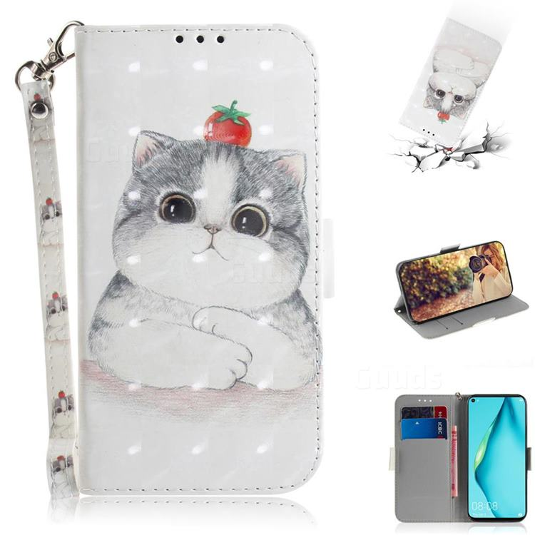 Cute Tomato Cat 3D Painted Leather Wallet Phone Case for Huawei P40 Lite
