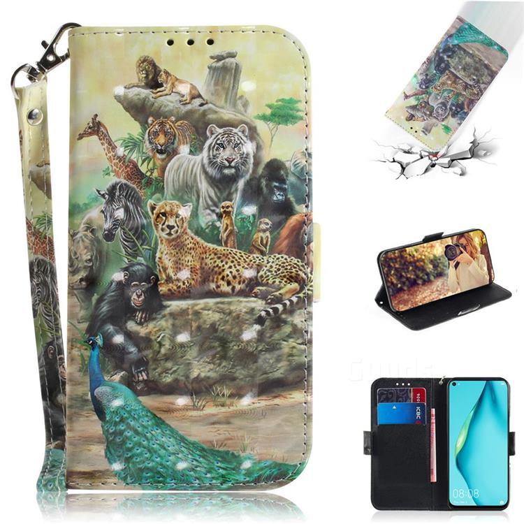 Beast Zoo 3D Painted Leather Wallet Phone Case for Huawei P40 Lite