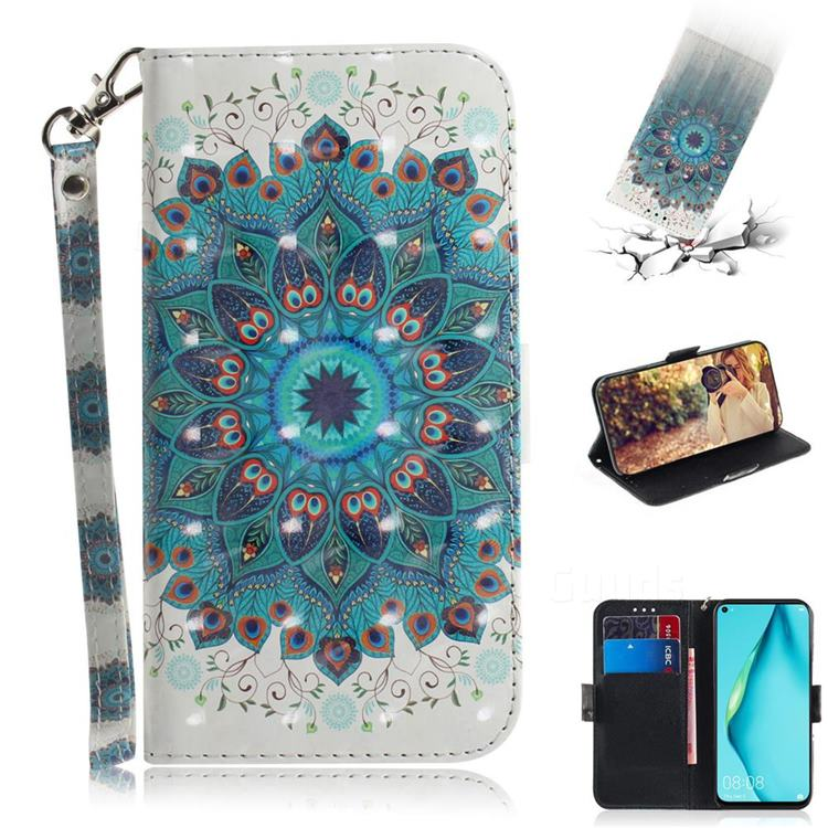Peacock Mandala 3D Painted Leather Wallet Phone Case for Huawei P40 Lite