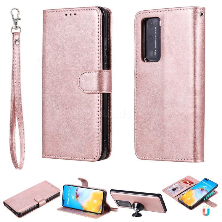 Retro Greek Detachable Magnetic PU Leather Wallet Phone Case for Huawei P40 Lite - Rose Gold