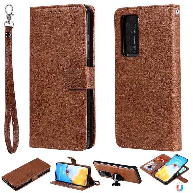 Retro Greek Detachable Magnetic PU Leather Wallet Phone Case for Huawei P40 Lite - Brown