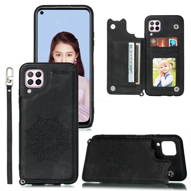 Luxury Mandala Multi-function Magnetic Card Slots Stand Leather Back Cover for Huawei P40 Lite - Black