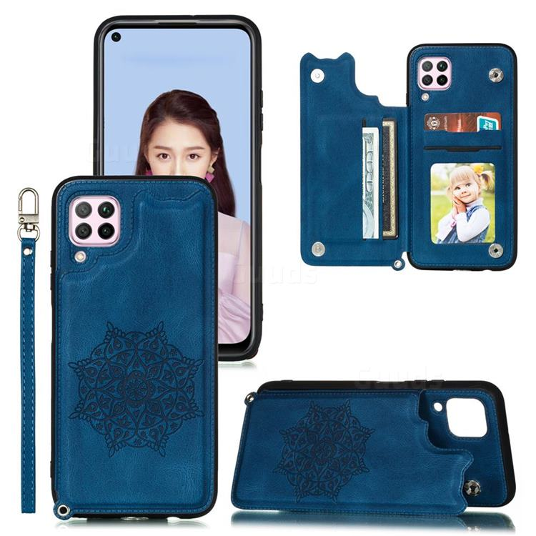 Luxury Mandala Multi-function Magnetic Card Slots Stand Leather Back Cover for Huawei P40 Lite - Blue