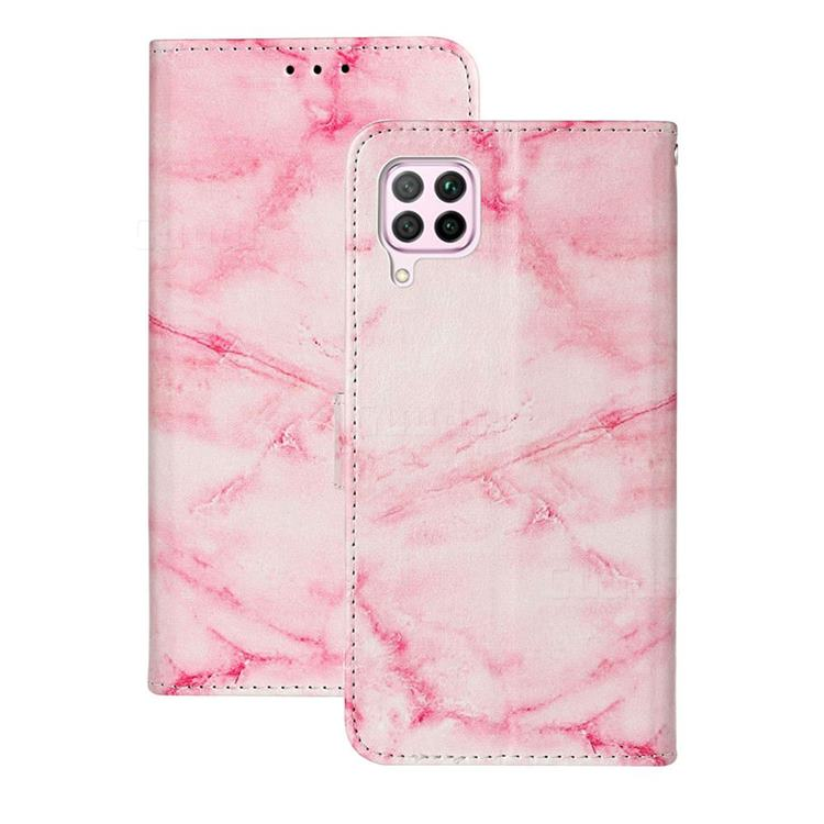 Pink Marble PU Leather Wallet Case for Huawei P40 Lite