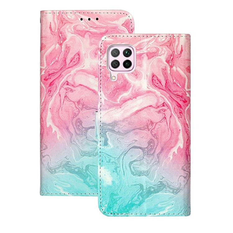 Pink Green Marble PU Leather Wallet Case for Huawei P40 Lite