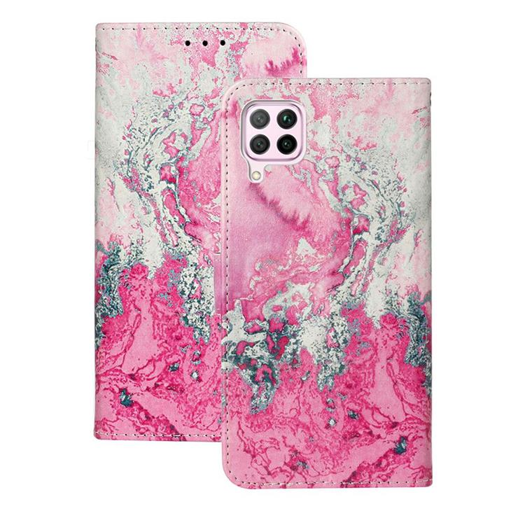 Pink Seawater PU Leather Wallet Case for Huawei P40 Lite