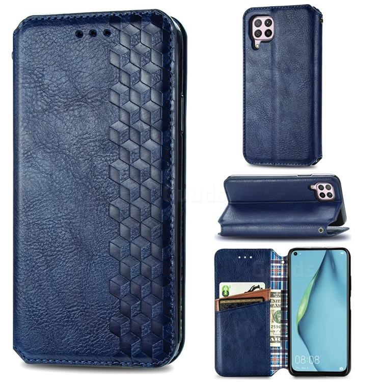Ultra Slim Fashion Business Card Magnetic Automatic Suction Leather Flip Cover for Huawei P40 Lite - Dark Blue
