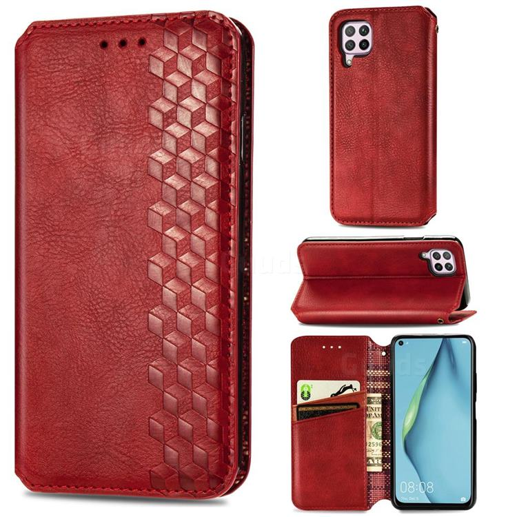 Ultra Slim Fashion Business Card Magnetic Automatic Suction Leather Flip Cover for Huawei P40 Lite - Red
