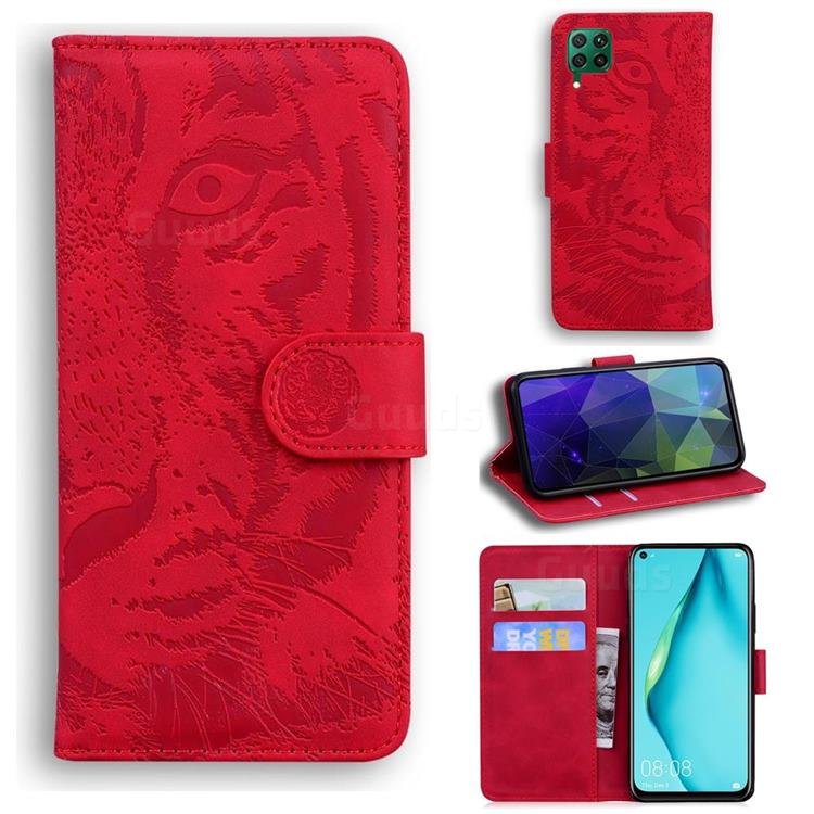 Intricate Embossing Tiger Face Leather Wallet Case for Huawei P40 Lite - Red