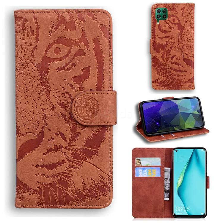Intricate Embossing Tiger Face Leather Wallet Case for Huawei P40 Lite - Brown