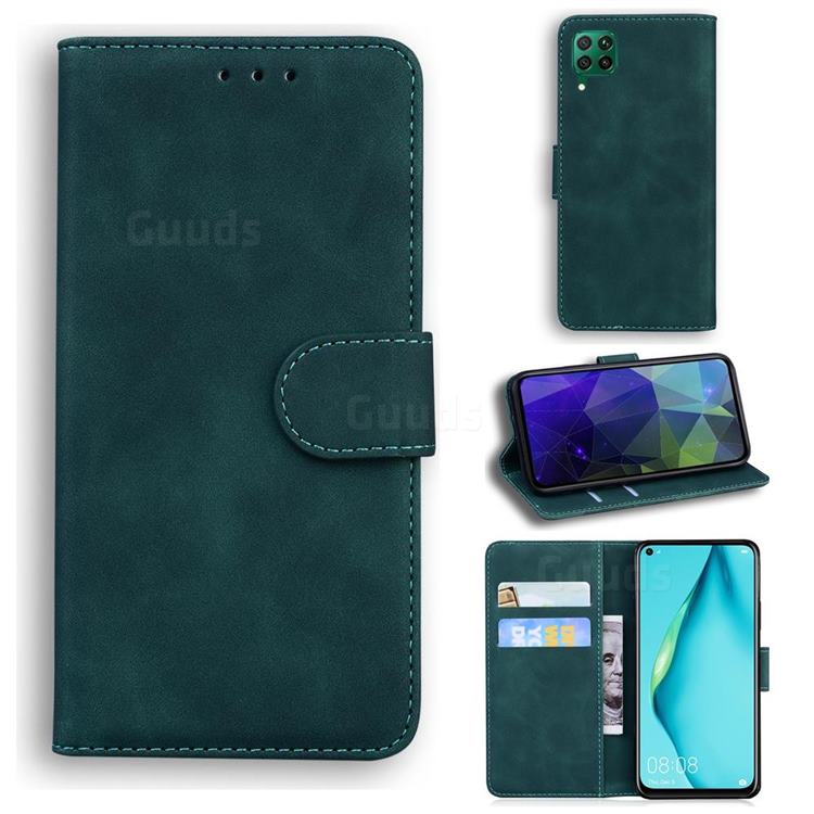 Retro Classic Skin Feel Leather Wallet Phone Case for Huawei P40 Lite - Green