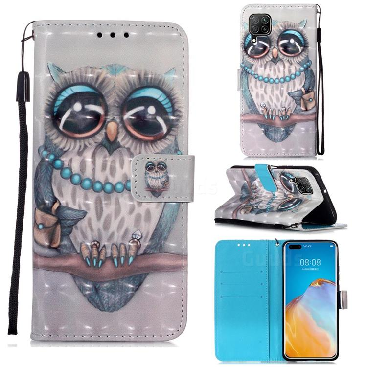 Sweet Gray Owl 3D Painted Leather Wallet Case for Huawei P40 Lite