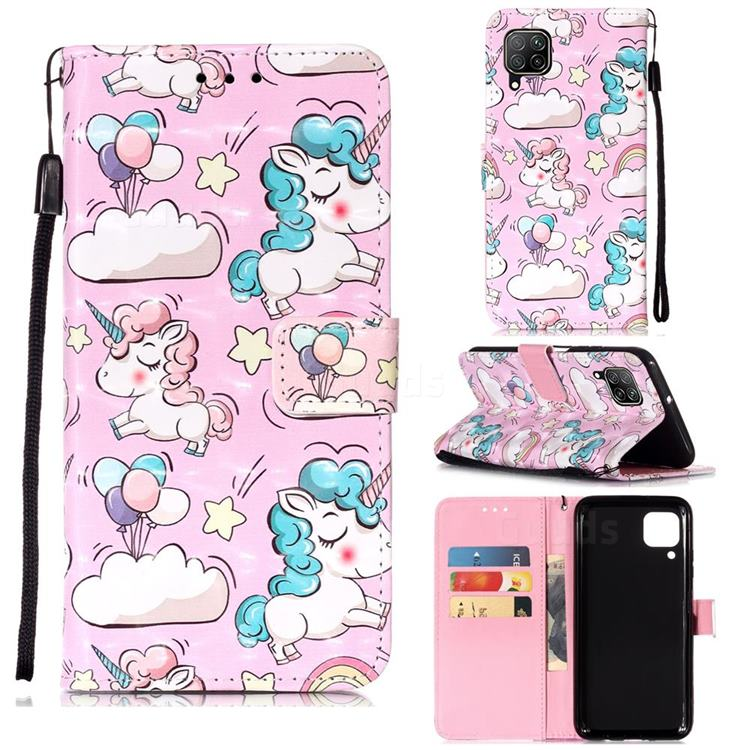 Angel Pony 3D Painted Leather Wallet Case for Huawei P40 Lite