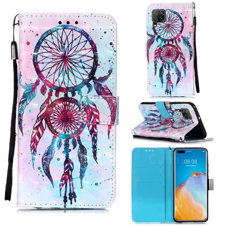 ColorDrops Wind Chimes 3D Painted Leather Wallet Case for Huawei P40 Lite