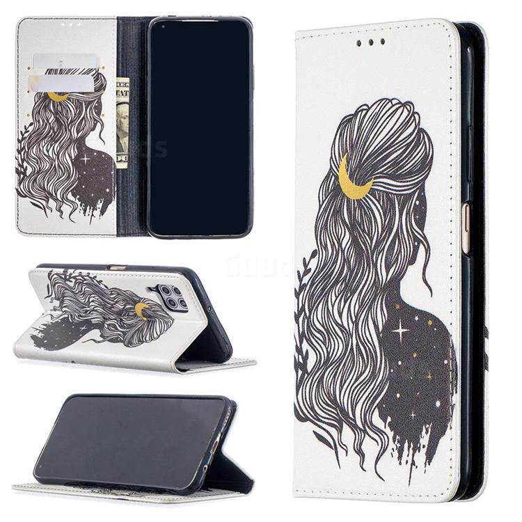 Girl with Long Hair Slim Magnetic Attraction Wallet Flip Cover for Huawei P40 Lite
