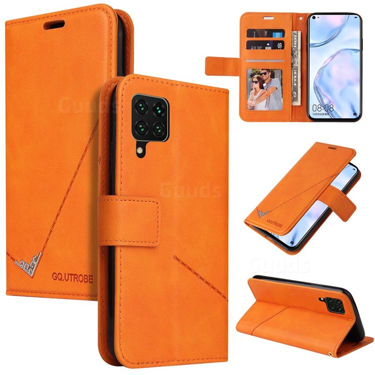 GQ.UTROBE Right Angle Silver Pendant Leather Wallet Phone Case for Huawei P40 Lite - Orange