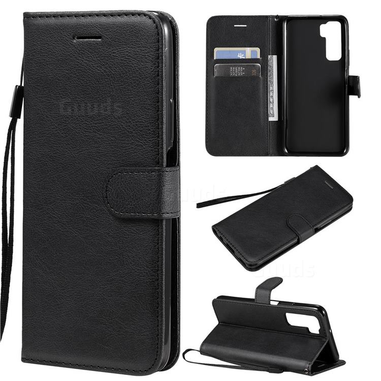 Retro Greek Classic Smooth PU Leather Wallet Phone Case for Huawei P40 Lite 5G - Black