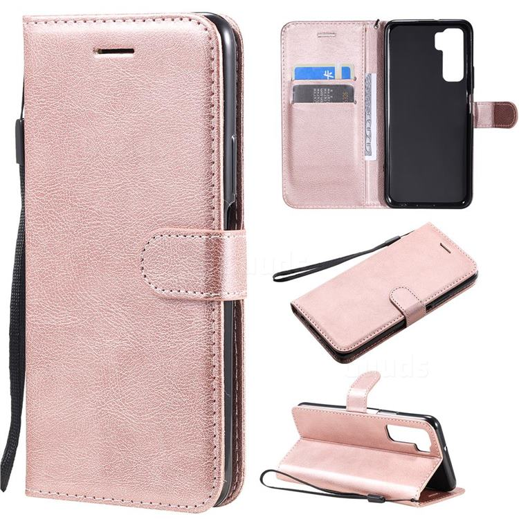 Retro Greek Classic Smooth PU Leather Wallet Phone Case for Huawei P40 Lite 5G - Rose Gold