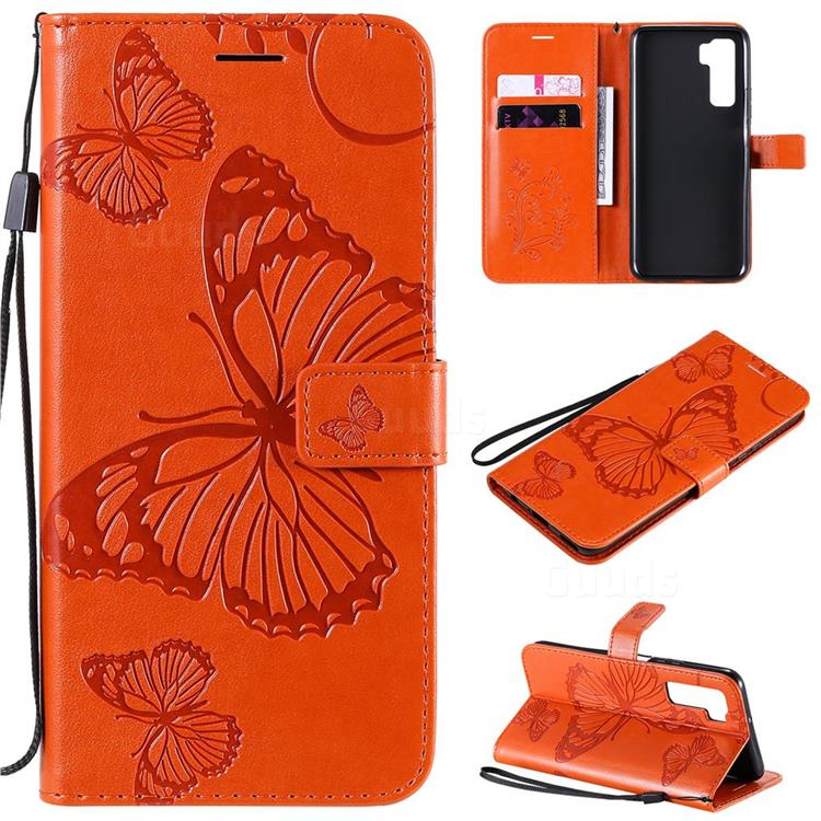 Embossing 3D Butterfly Leather Wallet Case for Huawei P40 Lite 5G - Orange