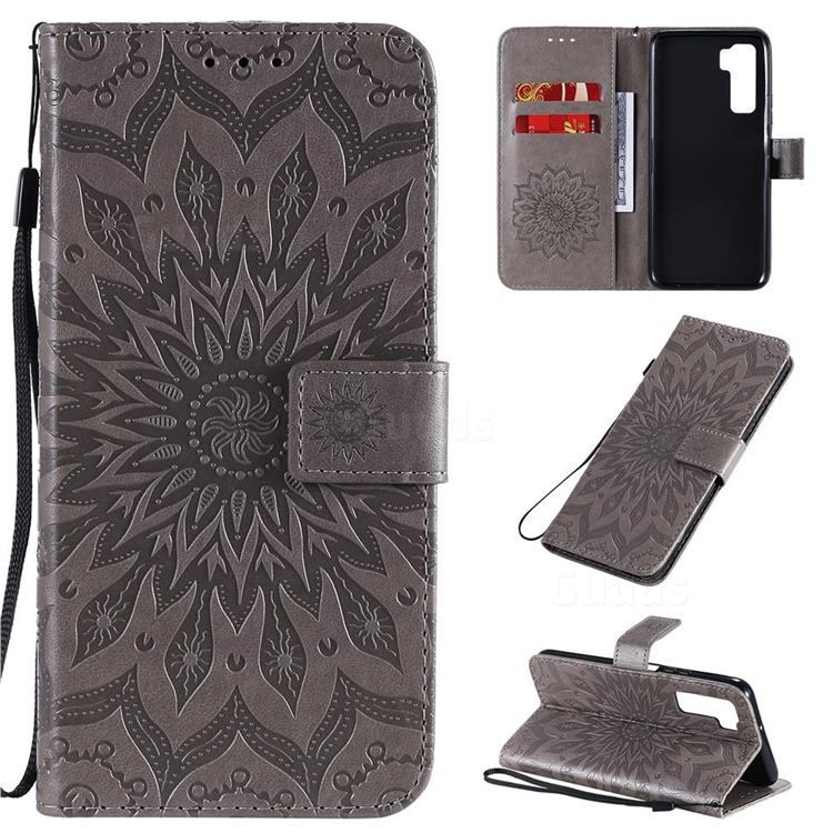Embossing Sunflower Leather Wallet Case for Huawei P40 Lite 5G - Gray