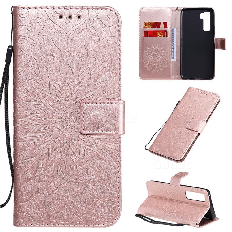 Embossing Sunflower Leather Wallet Case for Huawei P40 Lite 5G - Rose Gold
