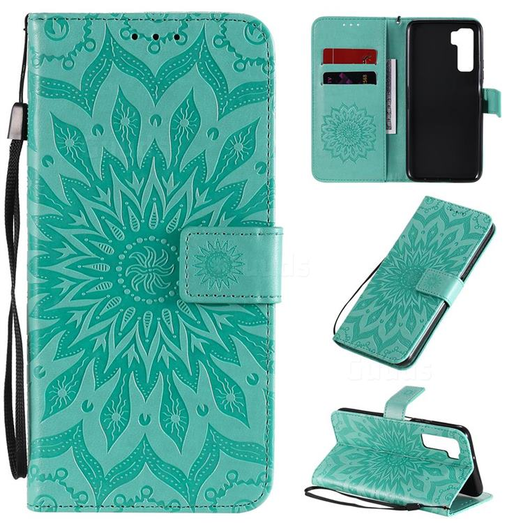 Embossing Sunflower Leather Wallet Case for Huawei P40 Lite 5G - Green