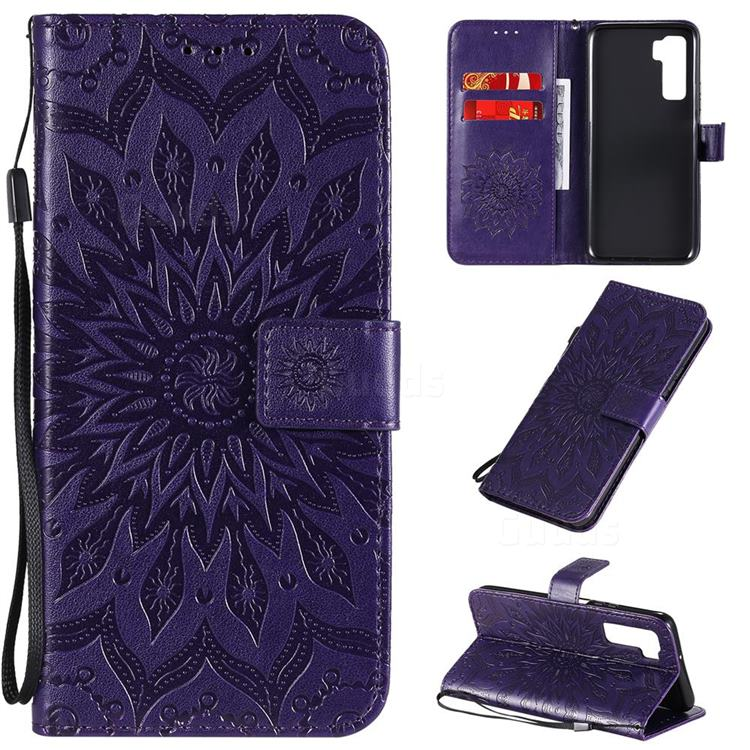 Embossing Sunflower Leather Wallet Case for Huawei P40 Lite 5G - Purple