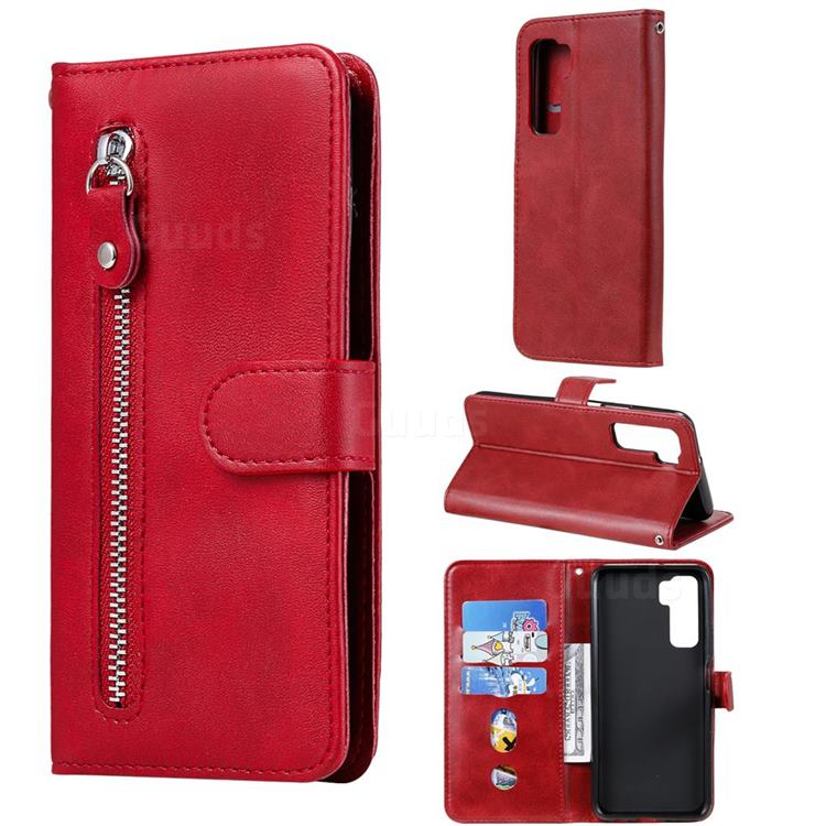 Retro Luxury Zipper Leather Phone Wallet Case for Huawei P40 Lite 5G - Red