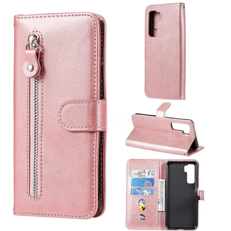 Retro Luxury Zipper Leather Phone Wallet Case for Huawei P40 Lite 5G - Pink