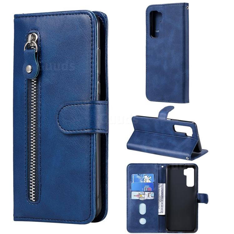 Retro Luxury Zipper Leather Phone Wallet Case for Huawei P40 Lite 5G - Blue