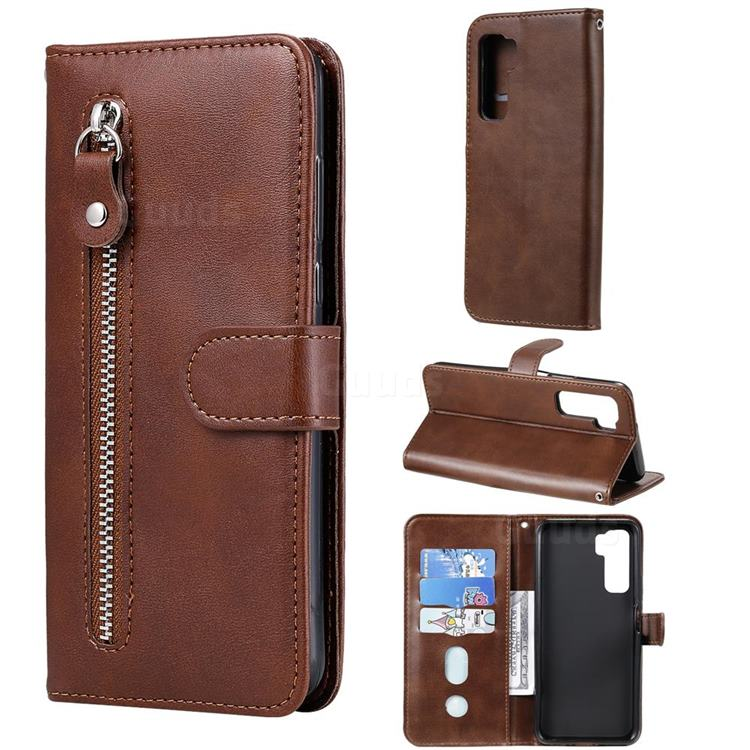 Retro Luxury Zipper Leather Phone Wallet Case for Huawei P40 Lite 5G - Brown