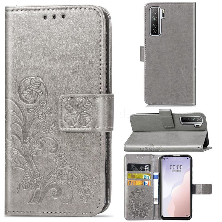 Embossing Imprint Four-Leaf Clover Leather Wallet Case for Huawei P40 Lite 5G - Grey