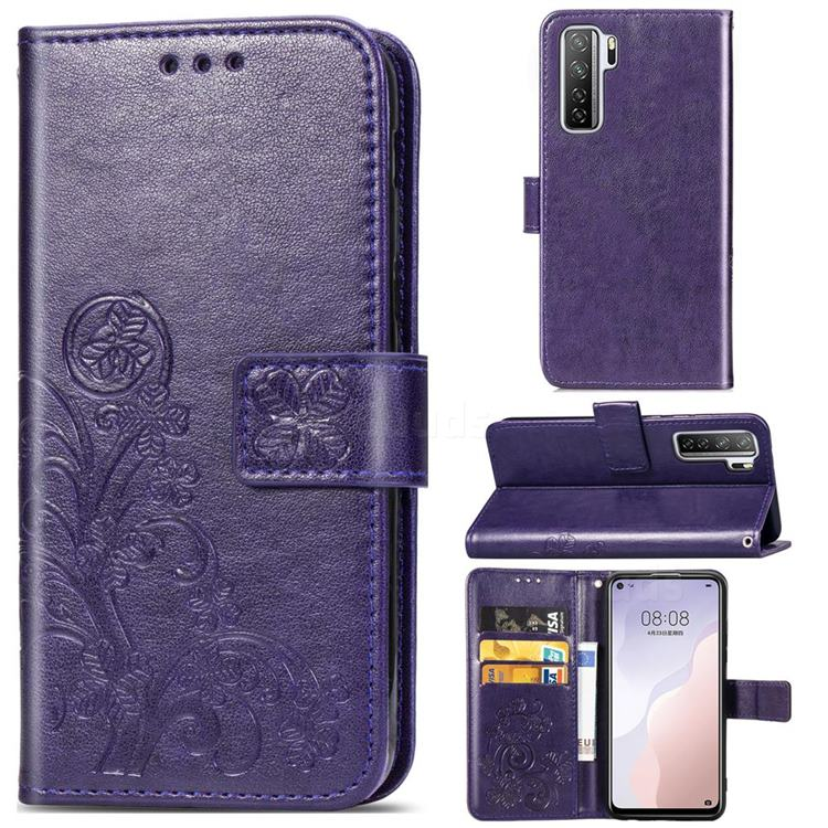 Embossing Imprint Four-Leaf Clover Leather Wallet Case for Huawei P40 Lite 5G - Purple