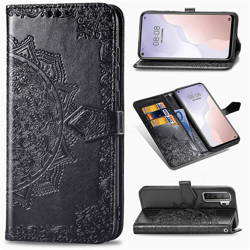 Embossing Imprint Mandala Flower Leather Wallet Case for Huawei P40 Lite 5G - Black