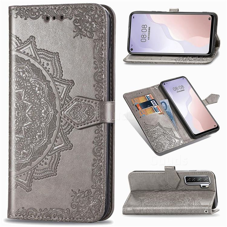 Embossing Imprint Mandala Flower Leather Wallet Case for Huawei P40 Lite 5G - Gray