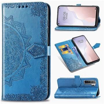 Embossing Imprint Mandala Flower Leather Wallet Case for Huawei P40 Lite 5G - Blue
