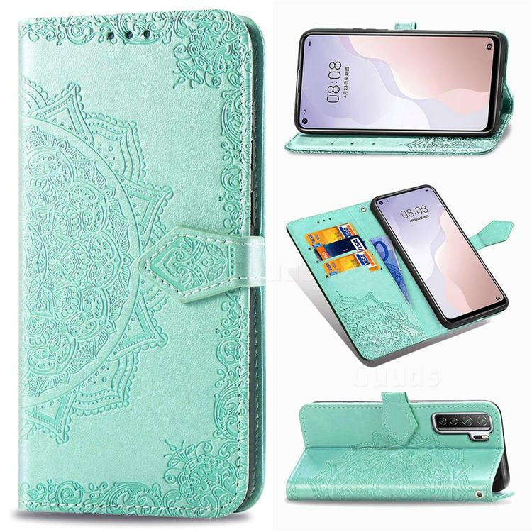 Embossing Imprint Mandala Flower Leather Wallet Case for Huawei P40 Lite 5G - Green