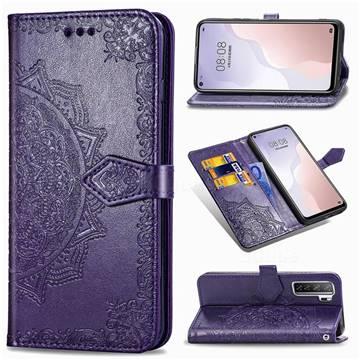 Embossing Imprint Mandala Flower Leather Wallet Case for Huawei P40 Lite 5G - Purple